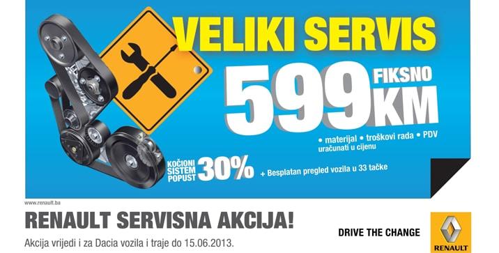 VELIKI SERVIS ZA SVE RENAULT I DACIA MODELE PO FIKSNOJ CIJENI OD 599 KM